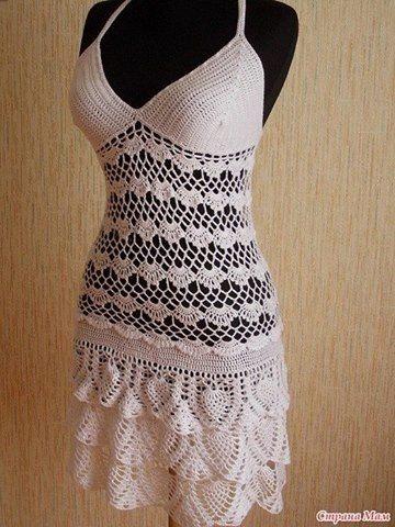 Patrón #1311: Vestido a Crochet