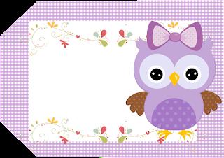 Para hacer invitaciones, tarjetas, marcos de fotos o etiquetas, para imprimir gratis de Lechuza Púrpura.