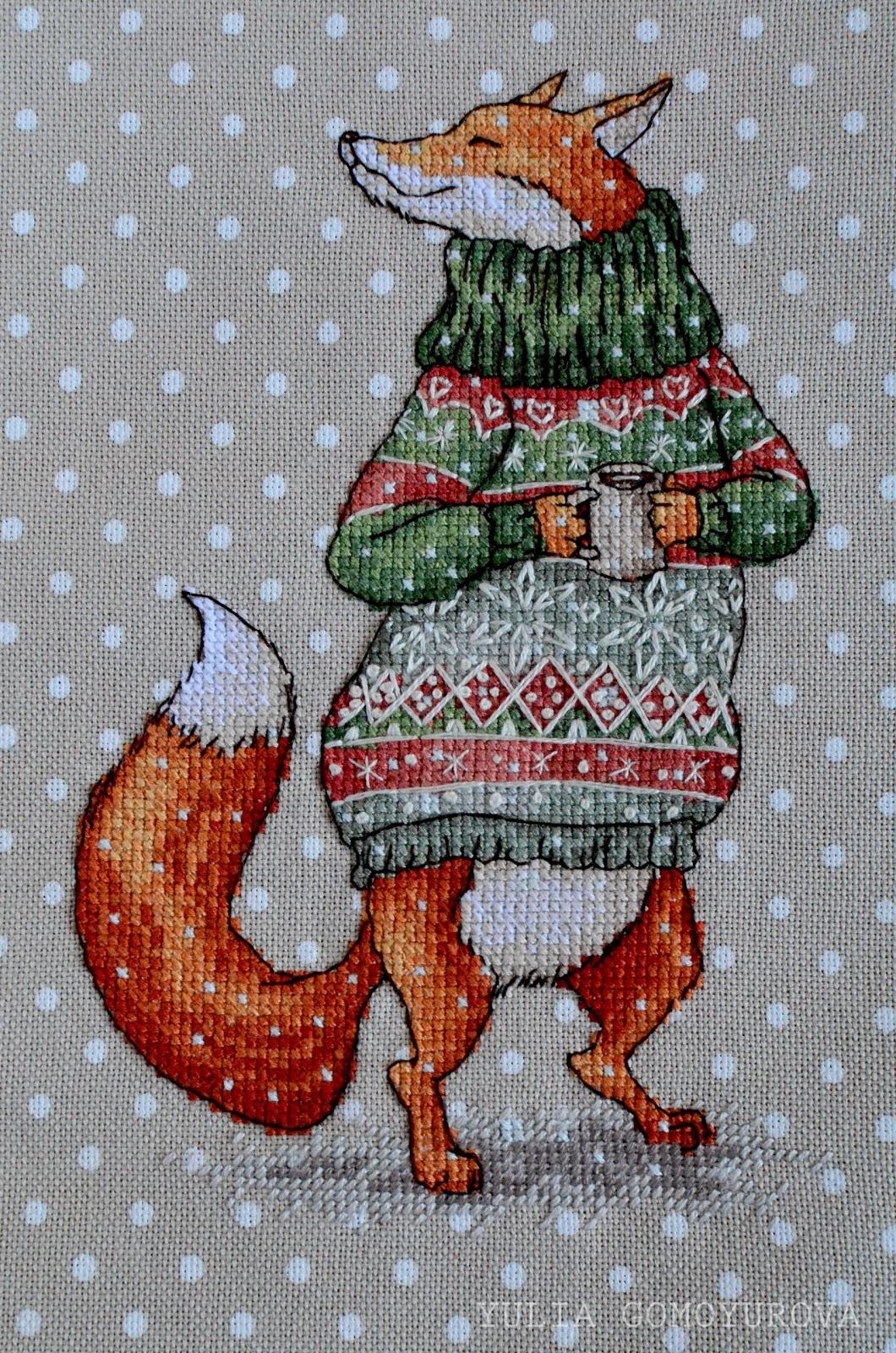 Схемы вышивки зверушки в свитерах