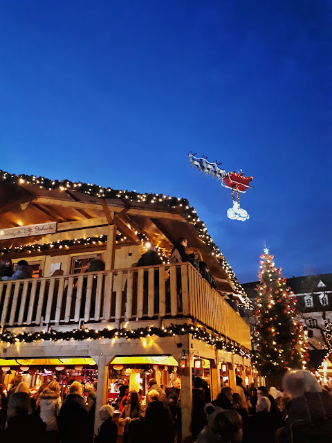 Santa Claus flying over the Saarbrücken Christmas Market