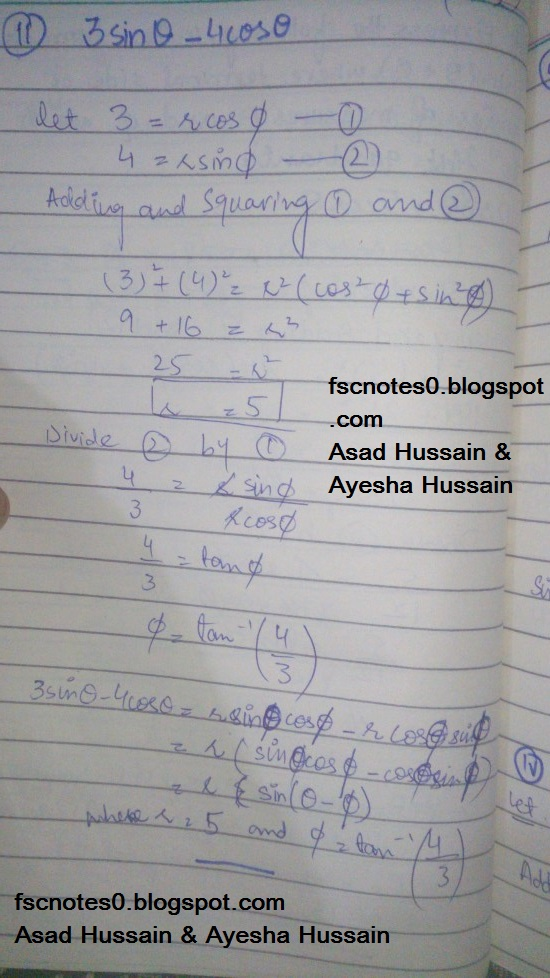 FSc ICS FA Notes Math Part 1 Chapter 10 Trigonometric Identities Exercise 10.2 Question 14 Written by Asad Hussain & Ayesha Hussain 1