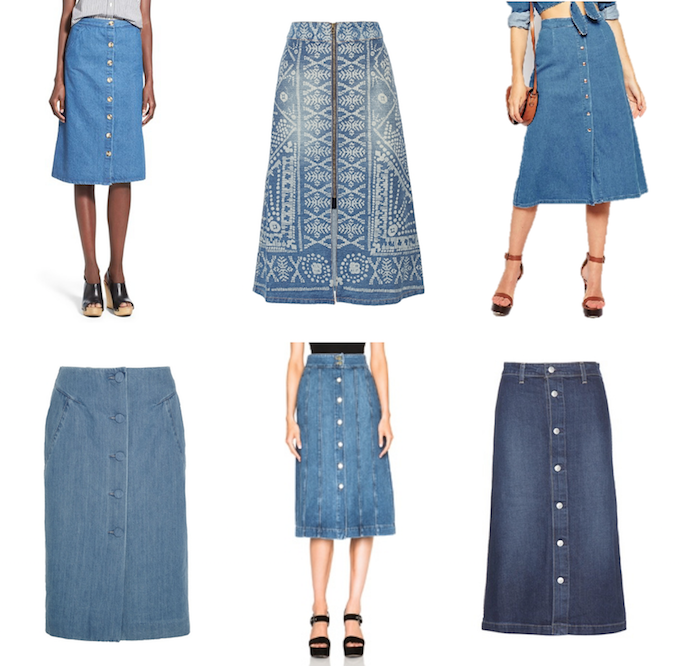 Shop Denim midi skirts