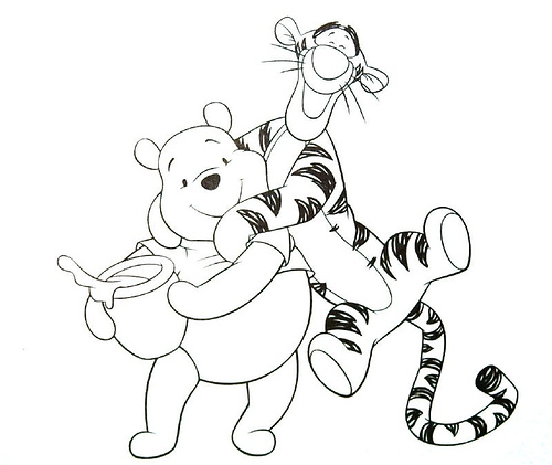 Cartoons coloring pages winnie the pooh and tigger for Tigger from winnie the pooh coloring pages