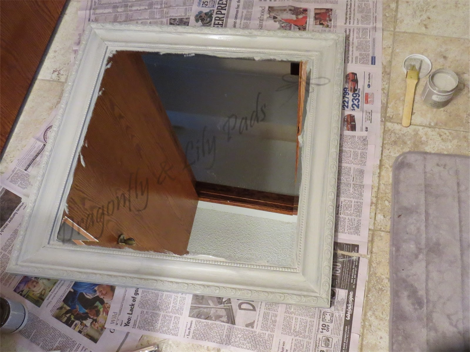 Painted Mirror, first coat, paint brush, Chalky Finish Paint, Light Gray