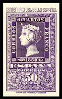 Filatelia - Centenario del Sello español (1950) - Valor de 50 céntimos