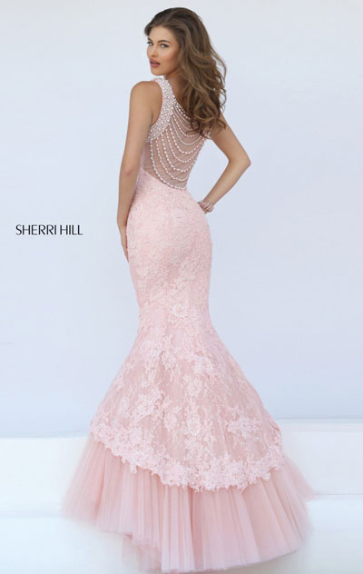 b1193d0e04722 Leave the crowd breathless in Sherri Hill 50112. Halter neckline with beaded  trim with linear cutout in front feature this evening gown. Sheer back with  ...