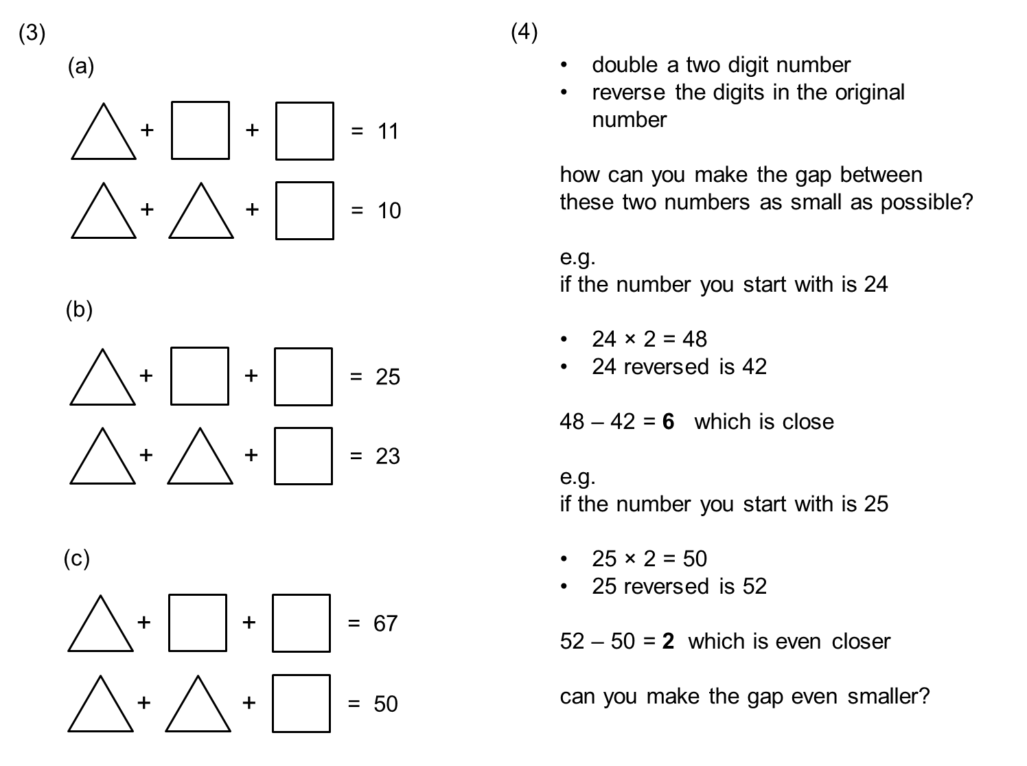 Algebra Questions Year 6 Sats