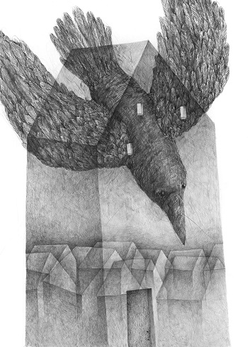 "Stefan Zsaitsits, ""Haus mit schwarzem Vogel"", 2018 | pictures, deep feelings, sad, emotional, art black and white | imagenes tristes chidas, emociones y sentimientos, depresión, obras de arte contemporaneo, dibujos a lapiz"