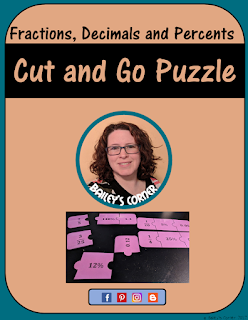 equivalent fractions decimals and percents cut and go puzzle