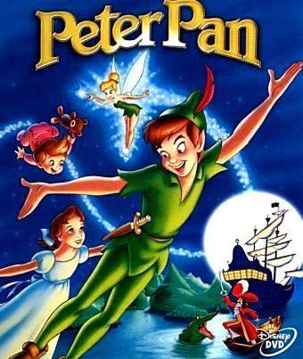 Dibujo de Peter Pan volando con sus amigos a colores