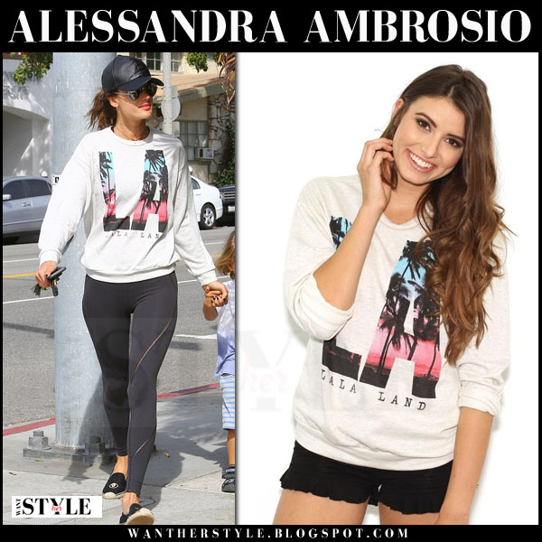 Alessandra Ambrosio in LA print vintage havana lala land sweatshirt, black leggings and black soludos espadrilles what she wore streetstyle