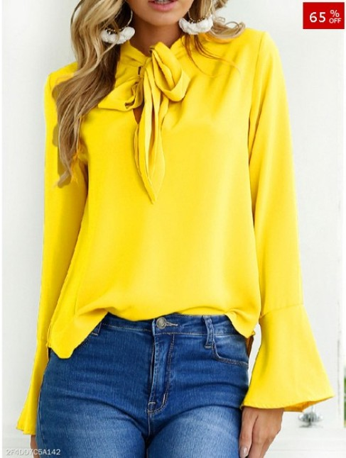 Autumn Spring Chiffon Women Tie Collar Bowknot Plain Bell Sleeve Long Sleeve Blouses - FashionMia Special Price: US$ 14.95