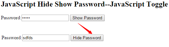 JavaScript Hide Show Password
