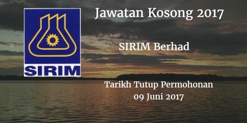 Jawatan Kosong SIRIM Berhad 09 Juni 2017
