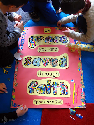Children making a collage of Ephesians 2:8