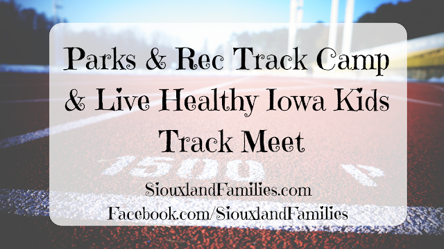 "in background, a rubberized track painted red with white lines and the words ""1500m"". In foreground, ""Parks & Rec Track Camp & Live Healthy Iowa Kids Track Meet"""