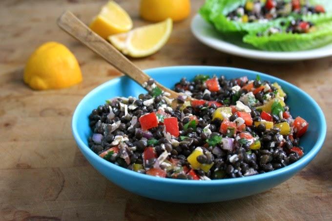 Beluga Lentil Mediterranean Lettuce Wraps: An inspired lentil salad with Mediterranean flavours.