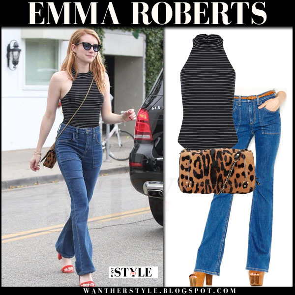 Emma Roberts in stripe body and flared joes jeans what she wore summer celebrity trend