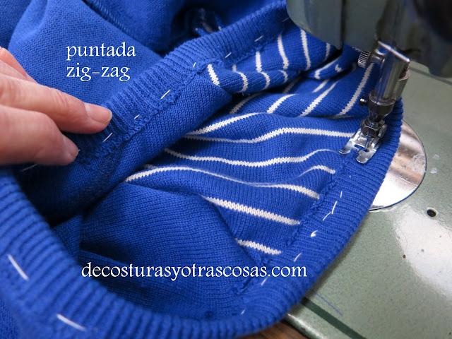 como coser con zig-zag un sueter de punto