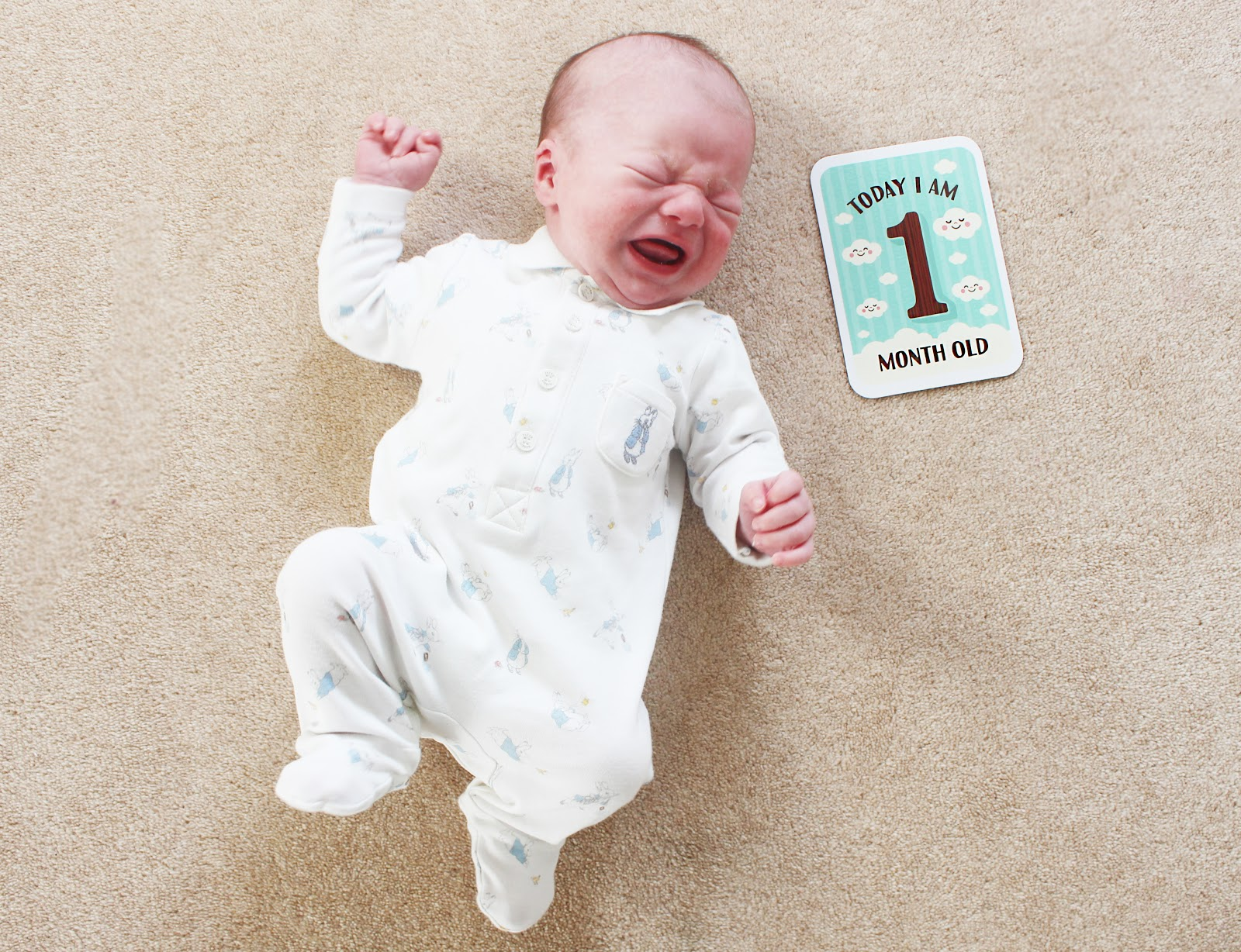 baby update newborn harrison one month old tracking twenty milestone cards