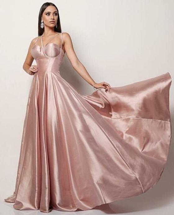 vestido de festa rosa corselete