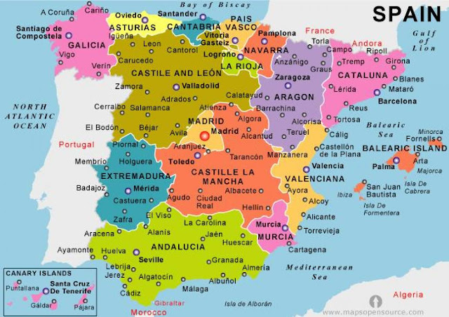Map of Spain Holiday Resorts