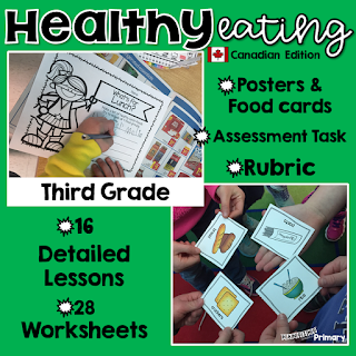 Healthy eating unit for Canadian third grade students that includes lessons, printables, assessment task and a rubric.
