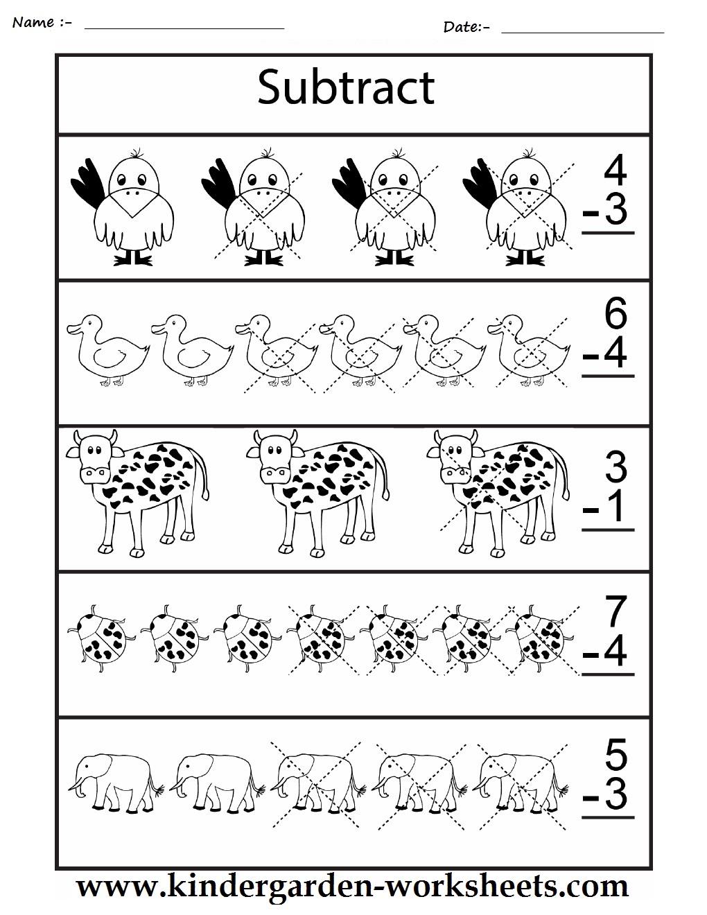kindergarten worksheets maths worksheets subtraction worksheets. Black Bedroom Furniture Sets. Home Design Ideas