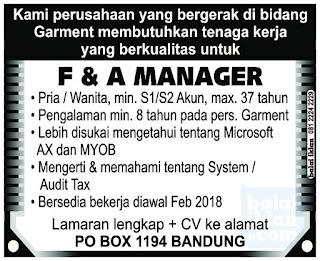 Lowongan Kerja Finance dan Akunting Manager di Bandung