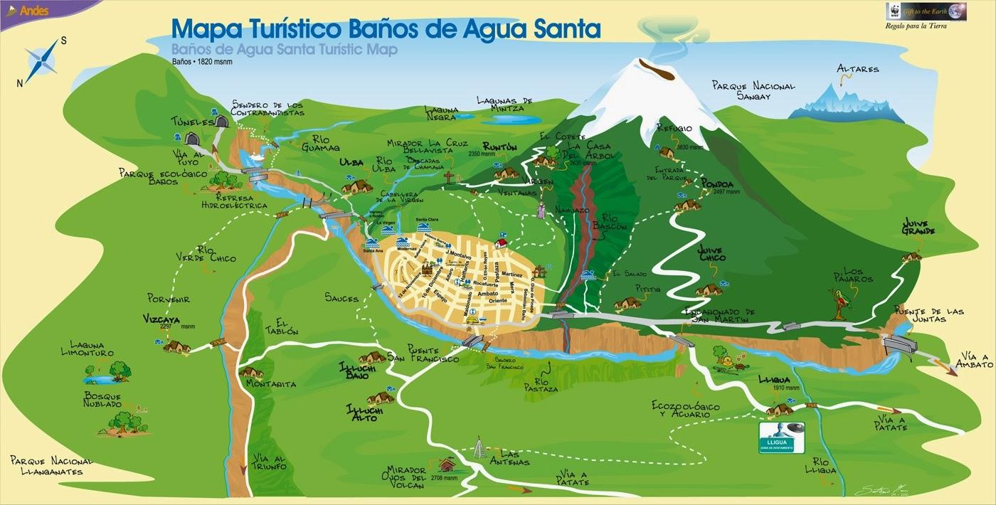 Mapa de los alrededores de la ciudad de ba os ecuador - Hoteles en banos ecuador ...