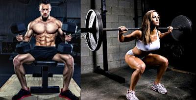 Masa muscular hombre mujer gimnasio pesas