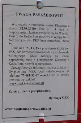 Informacja o kursowaniu autobusów