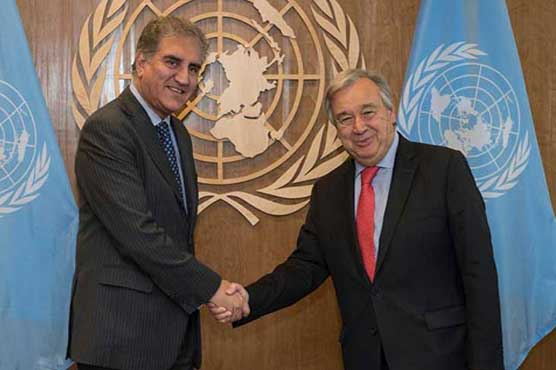 Foreign Minister Shah Mehmood Qureshi Meets UN Chief, Urges To Resolve Kashmir Issue