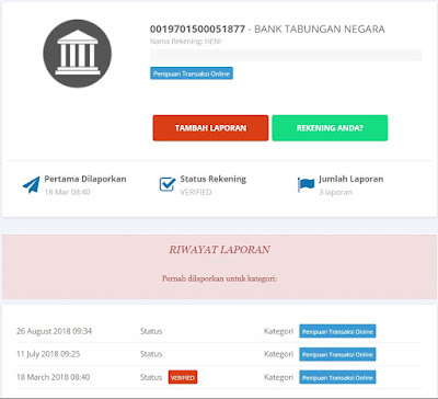 Cek dan Melaporkan Nomor Rekening Bank Penipuan Online