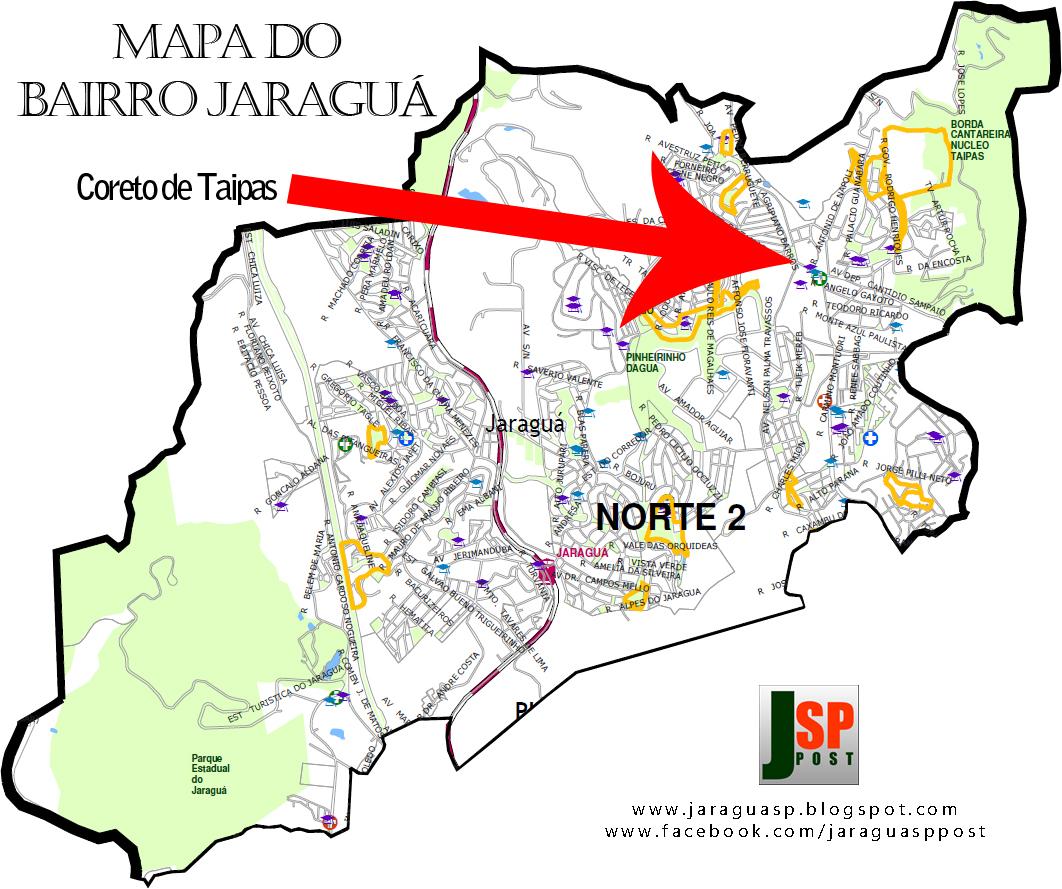 Posição do Coreto de Taipas dentro do bairro Jaraguá
