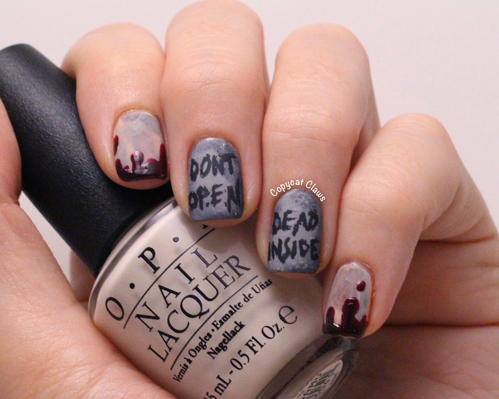 Copycat claws walking dead nails i wasnt sure what to do on my thumb so i added an creepy hand image from bundle monster bm h08 using konad black i love this image prinsesfo Choice Image