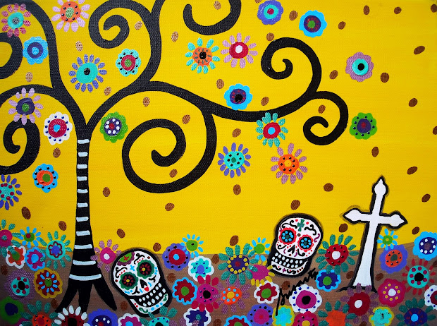 Modern Folk Artist Pristine Cartera-turkus Mexican Art Paintings