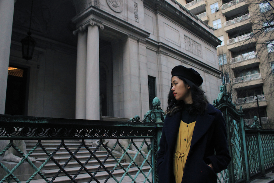 Side angle ootd near Morgan Library in NYC manhattan