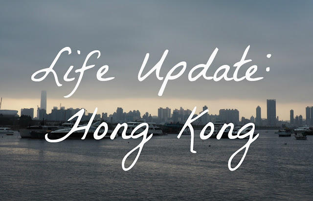 """Life Update: Hong Kong"" text on background of harbour view from Kwun Tong, Hong Kong"