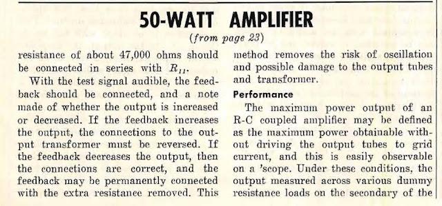 The 88-50 a Low Distortion 50 Watt Amplifier