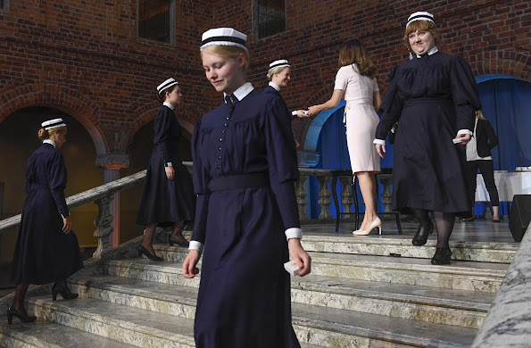 Swedish Princess Sofia attends graduation ceremony for sophia sisters at Stockholm City Hall. Princess Sofia wore dress. Sofia Hellqvist