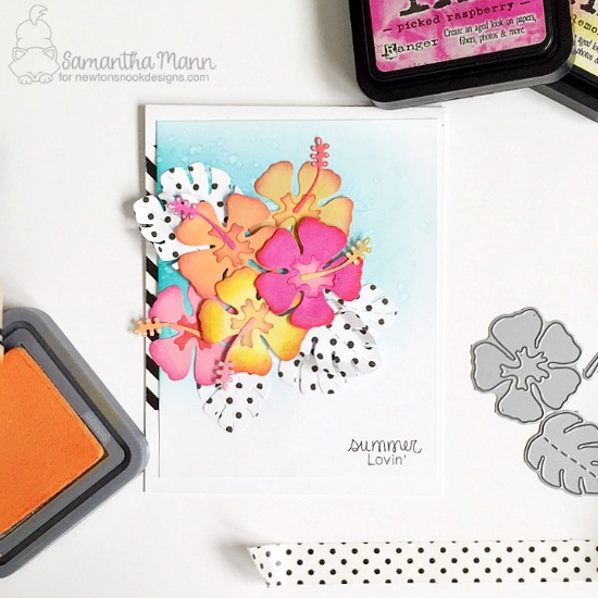 Floral Card by Samantha Mann features Hibiscus Die by Newton's Nook Designs, #newtonsnook