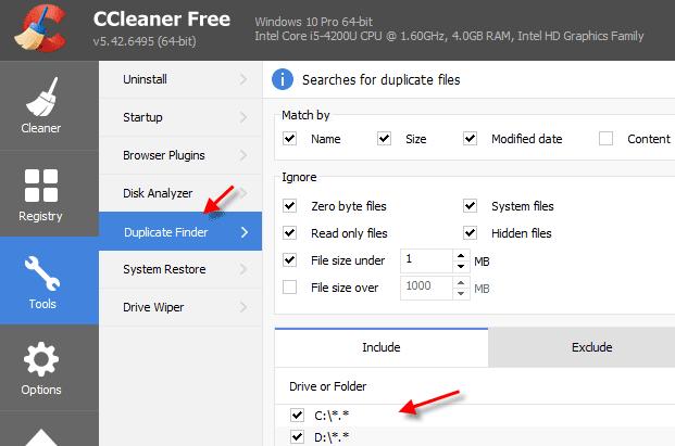 CCleaner duplicate file finder tool