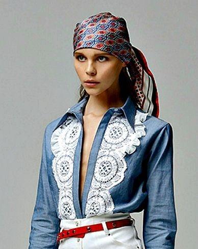 Camisa de ganga e renda  - Alessandra Rich - Denim and lace