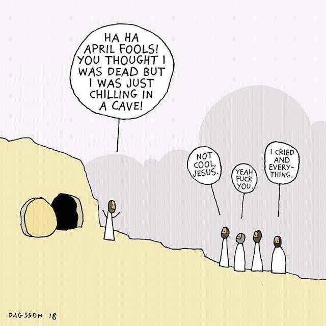 Funny Easter Jesus April Fool's Joke Cartoon