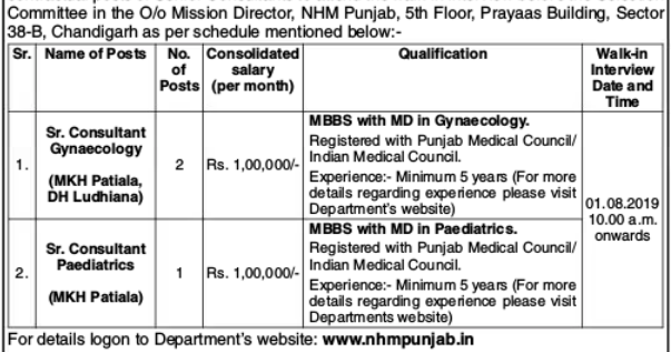 NHM Punjab Recruitment 2019 Senior Consultants (03 Vacancies)