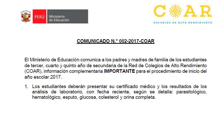 COAR 2017: Comunicado Inicio del Año Escolar en los Colegios de Alto Rendimiento (Información Complementaria) MINEDU - www.minedu.gob.pe