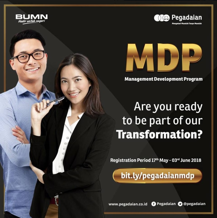 Pendaftaran Penerimaan Karyawan Management Development Program Di PT Pegadaian (Persero) BUMN Secara Online 17 Mei - 3 Juni 2018