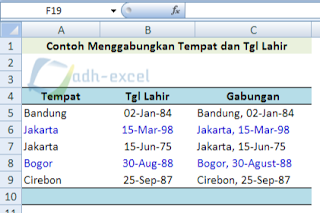 combine date of birth in excel