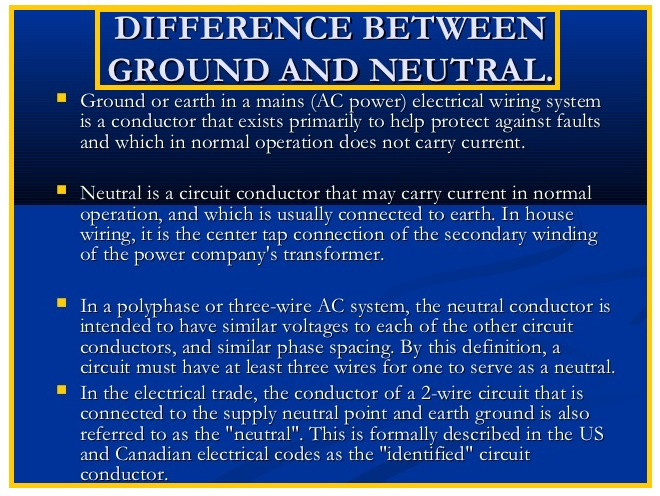 What is the Difference between GROUND and NEUTRAL   EEE COMMUNITY